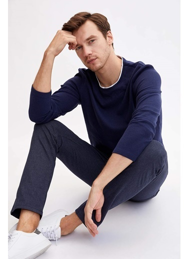 DeFacto Slim Fit Örme Sweatshirt Lacivert